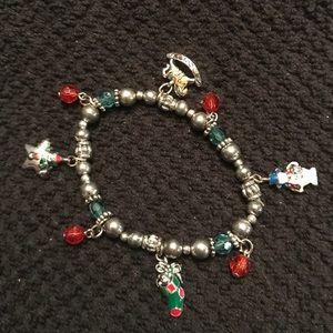 Vintage Christmas Charm Bracelet Stretch XMAS